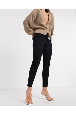 Only Wauw skinny jeans with mid waist in black