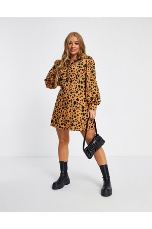 ASOS Mini shirt dress in brown leopard print