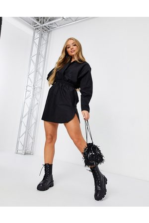 Flounce London Plunge shirt dress with ruched detail in black