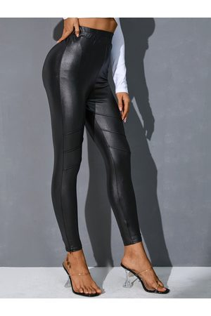 YOINS Black Faux Leather Leggings