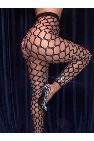 YOINS Black Sexy Mesh Rhinestone Fishnet Stocking