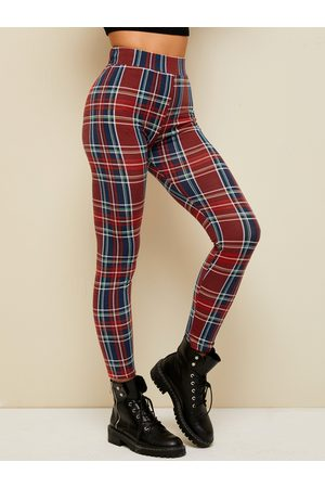YOINS Red Plaid High Waisted Leggings