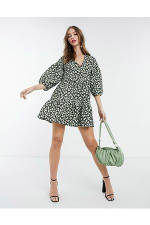 ASOS Textured mini v neck volume sleeve dress in green disty floral