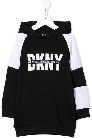 DKNY Logo print hoodie dress