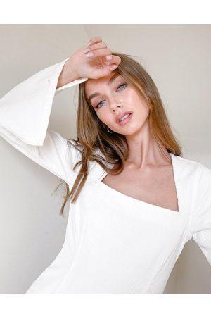 ASOS Split sleeve mini dress in cream cord