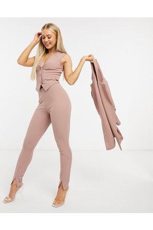 ASOS Jersey slim split front suit trousers in blush