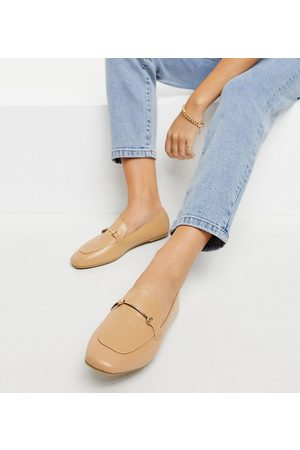 Raid Wide Fit Vella soft square toe flat shoes with gold trim in