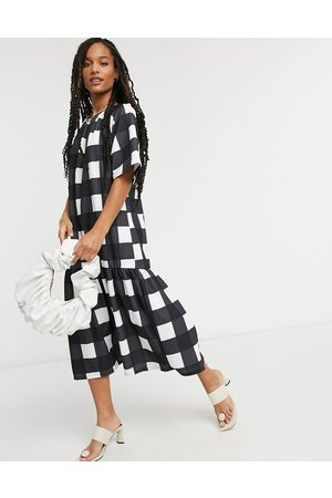 ASOS Midi dress with pep hem in oversized black and white check print