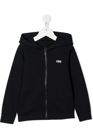 Emporio Armani Logo-patch zip-up hoodie
