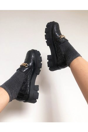 Raid Alessio chunky flat shoes with gold chain detail in black croc