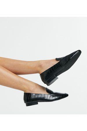 ASOS Wide Fit Mindy flat loafers in black croc