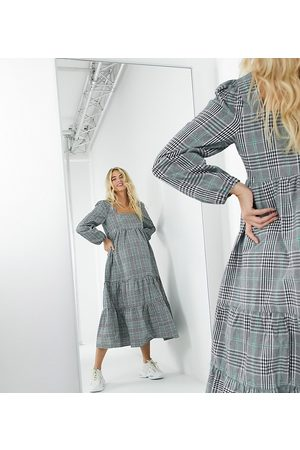 Missguided Maxi smock dress in grey check