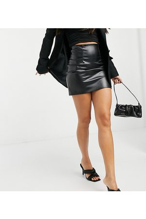 ASOS Tall leather look seamed super mini skirt in black