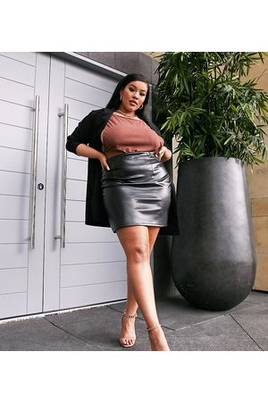 ASOS Curve leather look seamed super mini skirt in black
