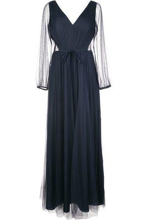 Marchesa Notte Vestido con mangas traslúcidas