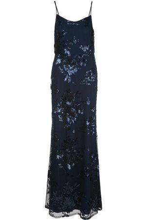 Marchesa Notte Vestido con motivo floral de lentejuelas