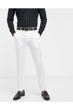 ASOS Skinny tuxedo suit trousers in white high shine