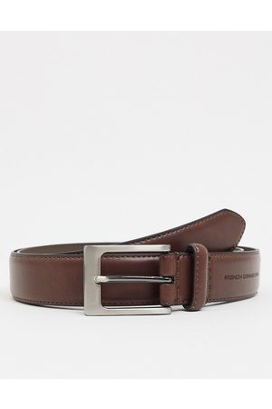 French Connection Keeper buckle belt in brown leather