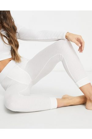 ASOS Mix & match waffle cuffed pyjama legging with elastic waistband in off white
