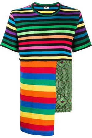 Comme Des Garçons Homme Plus Hombre Playeras - Camisa a rayas con diseño en patchwork