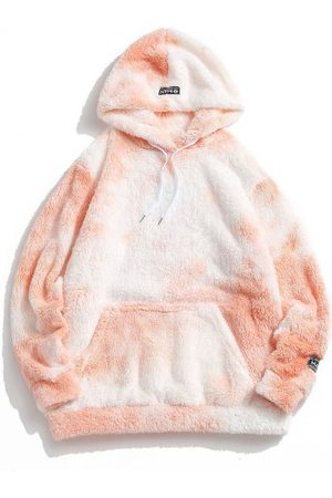 Zaful Tie Dye Fluffy Front Pocket Hoodie