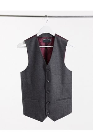 ASOS Wedding skinny wool mix suit waistcoat in charcoal herringbone