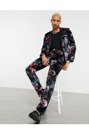 Twisted Tailor Suit trousers with large floral print in black velvet