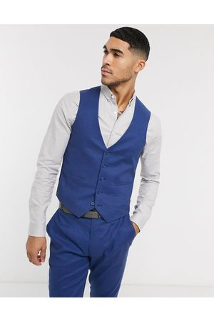 ASOS Hombre Chalecos - Wedding super skinny suit waistcoat in stretch cotton linen in navy