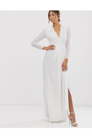 ASOS Mujer De fiesta - Alexa pleated plunge wrap wedding dress in sequin