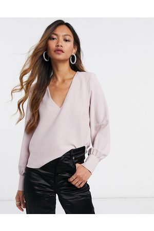 ASOS Long sleeve top with v neck detail in blush