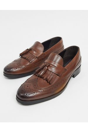 ASOS Loafers in brown polished leather with brogue detail