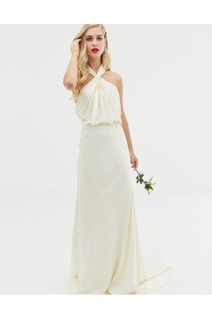 ASOS Valentina ruched halter neck maxi wedding dress