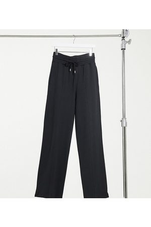 ASOS ASOS DESIGN Tall straight leg jogger with deep waistband and pintuck in organic cotton in black