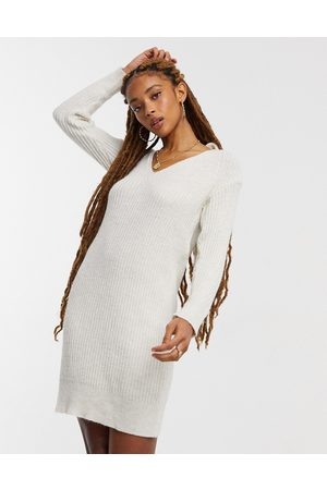 Miss Selfridge Tie back knitted dress in oatmeal
