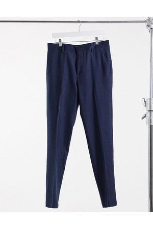 ASOS Wedding skinny wool mix suit trousers in navy herringbone