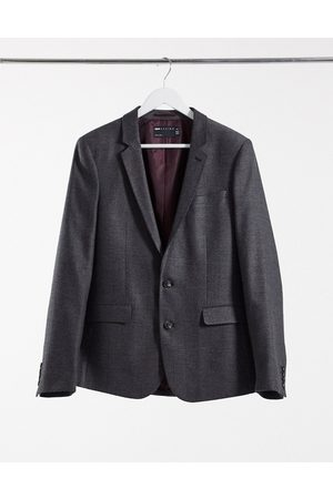 ASOS Wedding skinny wool mix suit jacket in charcoal herringbone