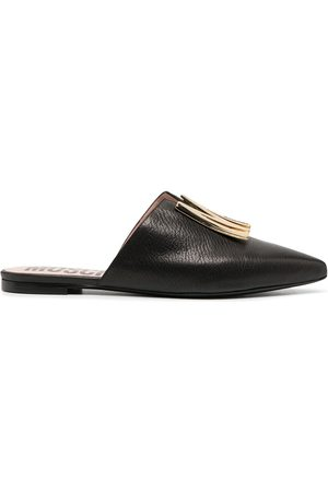 Moschino Logo plaque flat leather mules