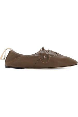 Loewe Zapatos Planos Con Cordones De Piel Suave 10mm