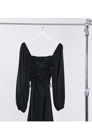 Missguided A line dress with ruched detail in black