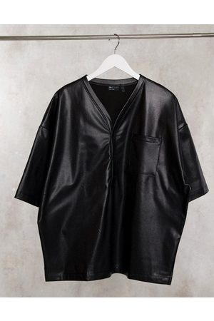 ASOS DESIGN Oversized baseball shirt in stretch perforated pu leather in black