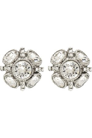 Oscar de la Renta Classic Button crystal-embellished earrings