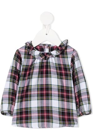 Il gufo Tartan check ruffled collar shirt