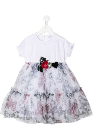 Monnalisa Bow print flared dress