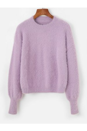 Zaful Fuzzy Knit Drop Shoulder Crew Neck Sweater