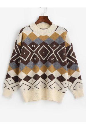 Zaful Crewneck Argyle Pattern Sweater