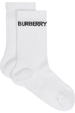 Burberry Calcetines con logo en intarsia