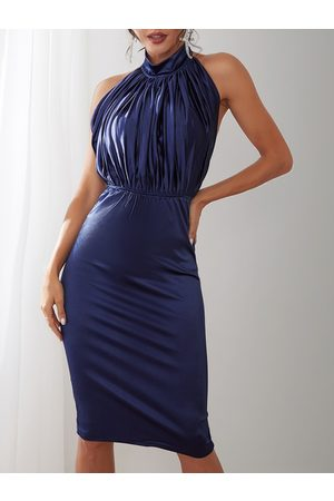 YOINS Pleated Design Backless Halter Party Dress