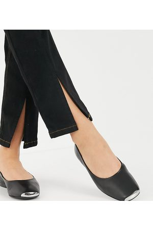 ASRA Mujer Flats - Exclusive Fleur flat shoes with toe cap in black leather