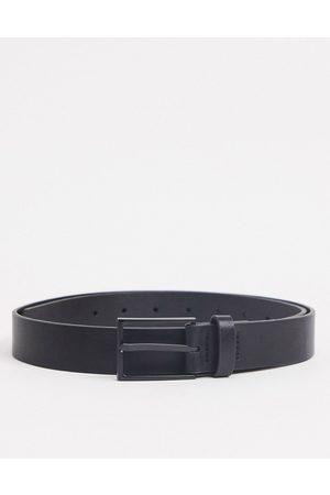 ASOS Slim belt in black faux leather with matte black buckle detail