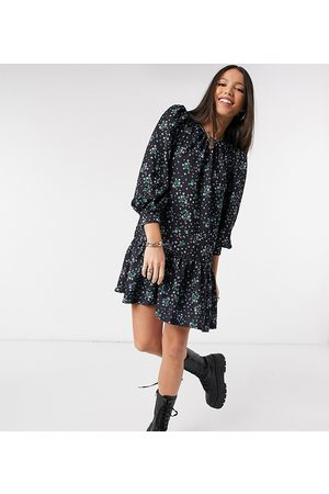 ASOS ASOS DESIGN Tall mini pep hem volume sleeve smock dress in black green and blue floral